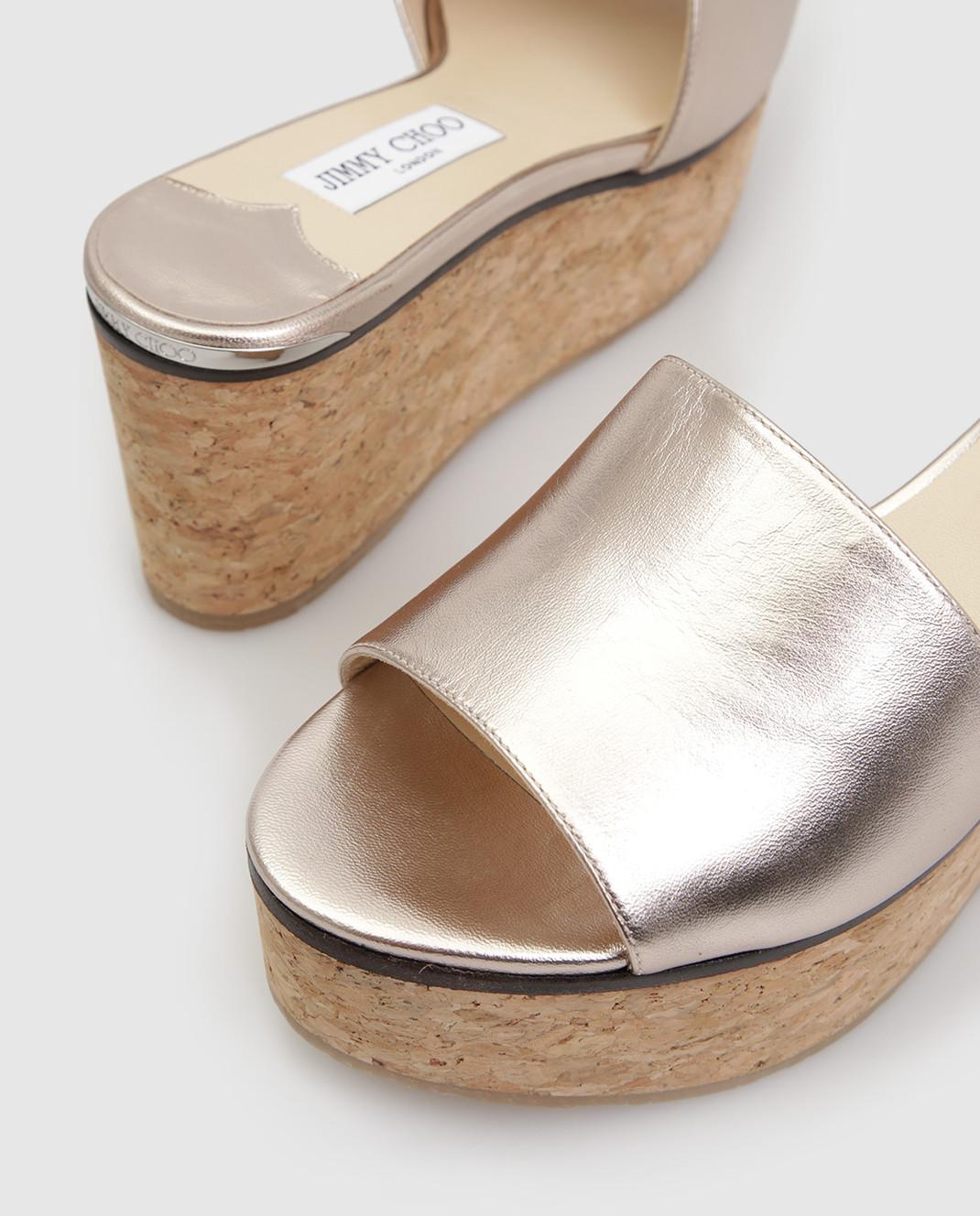Jimmy Choo Золотистые кожаные шлепанцы