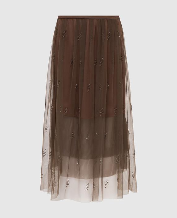 Бежевая юбка с кристаллами Swarovski