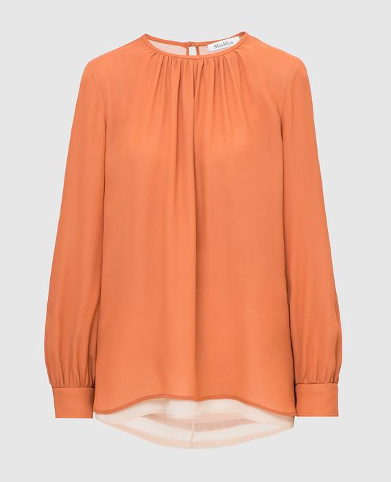 Оранжевая блуза из шелка