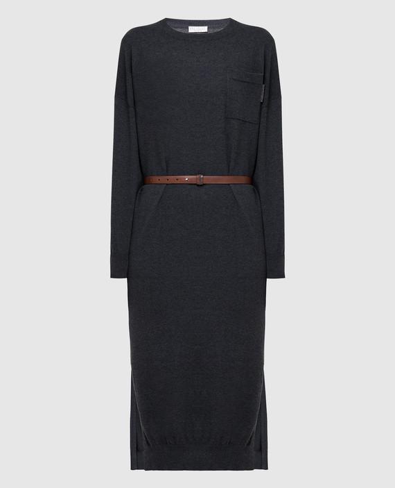 Темно-серое платье из кашемира