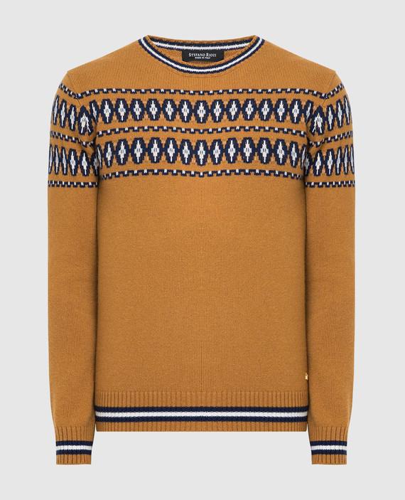 Горчичный свитер из кашемира и шелка