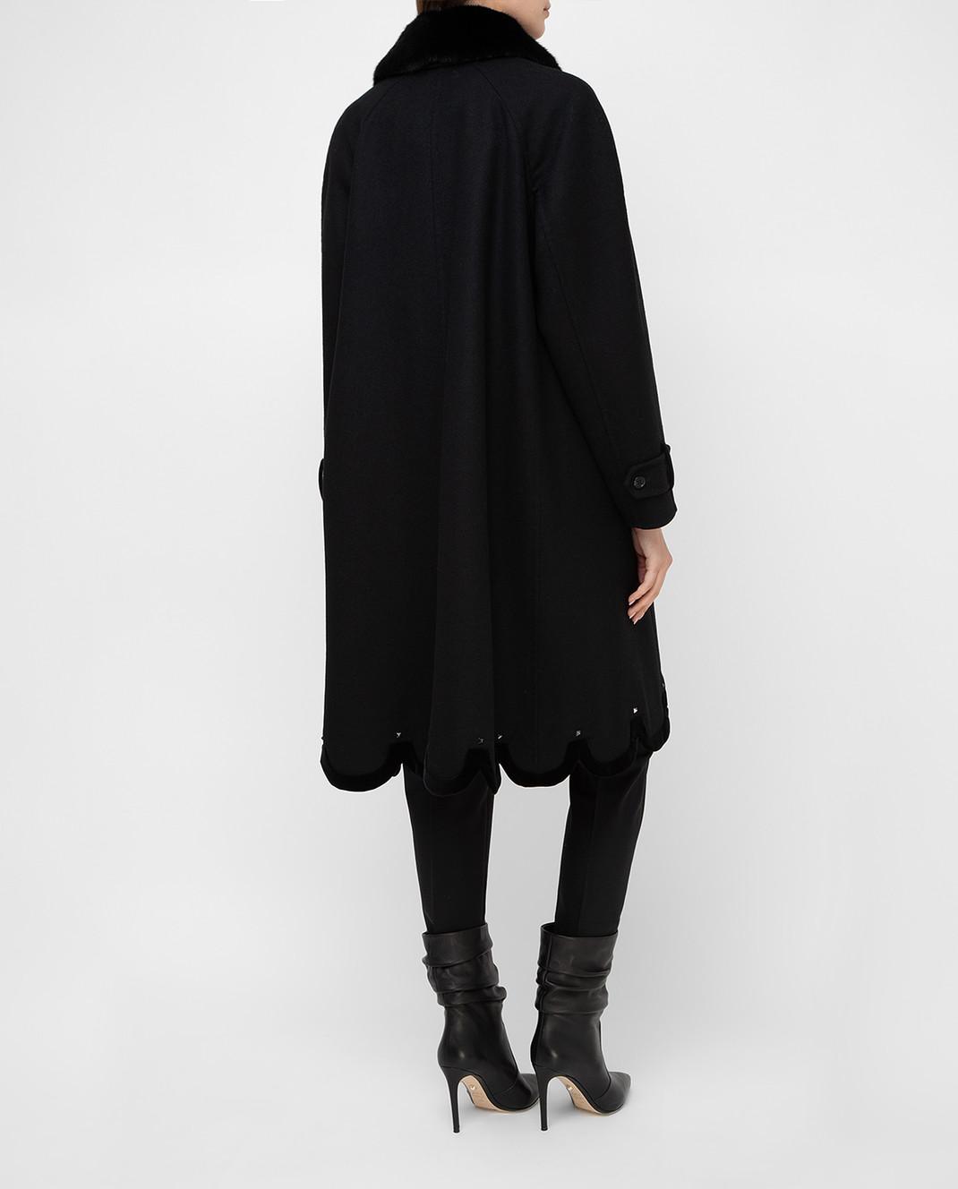Valentino Черное пальто из шерсти с мехом норки QB3CA2Q51CJ изображение 4