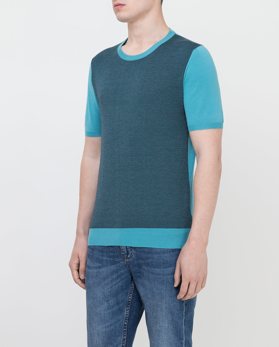 Kiton Голубая футболка UK1044E19 изображение 3
