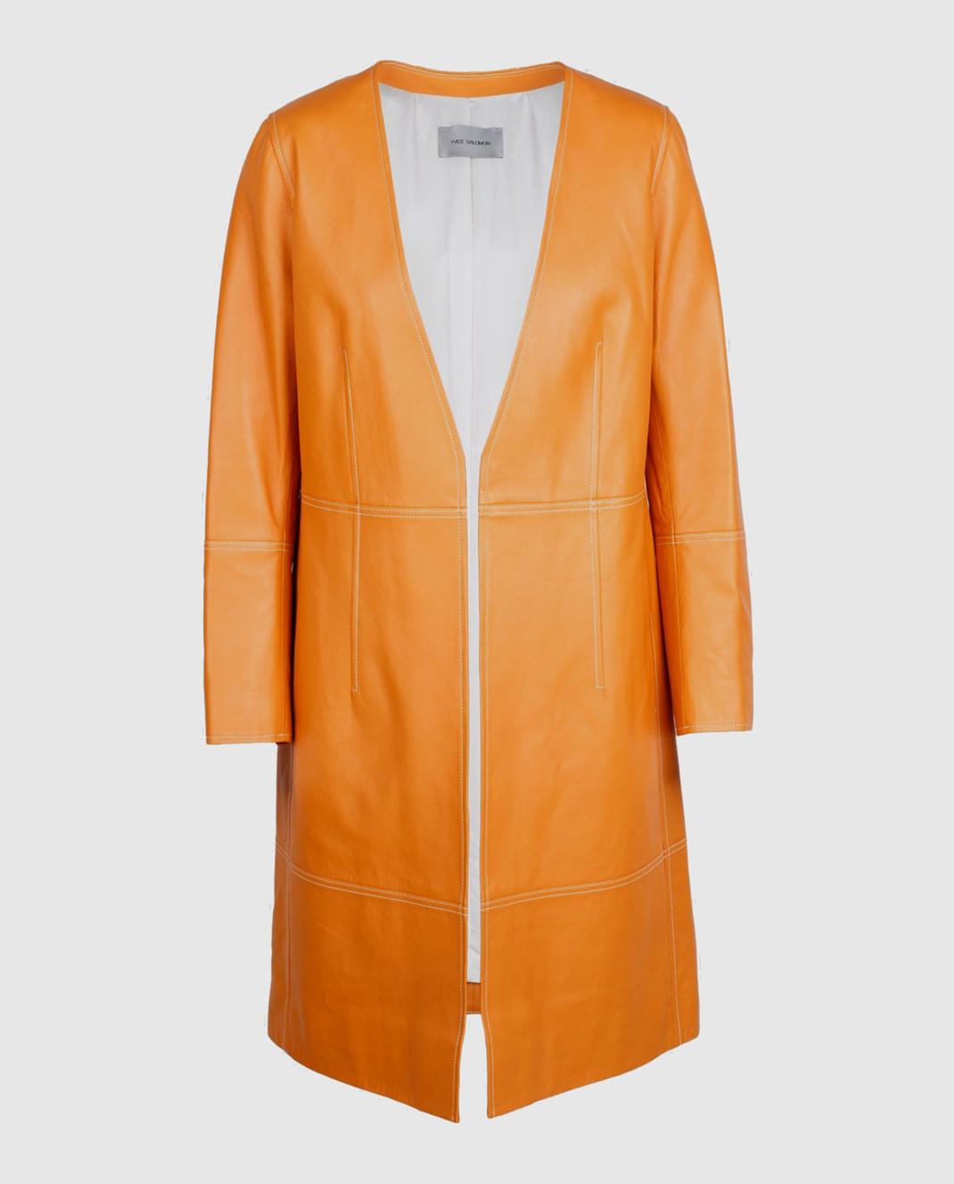 Yves Salomon Оранжевый плащ из кожи ягненка 7EYM20401APXX