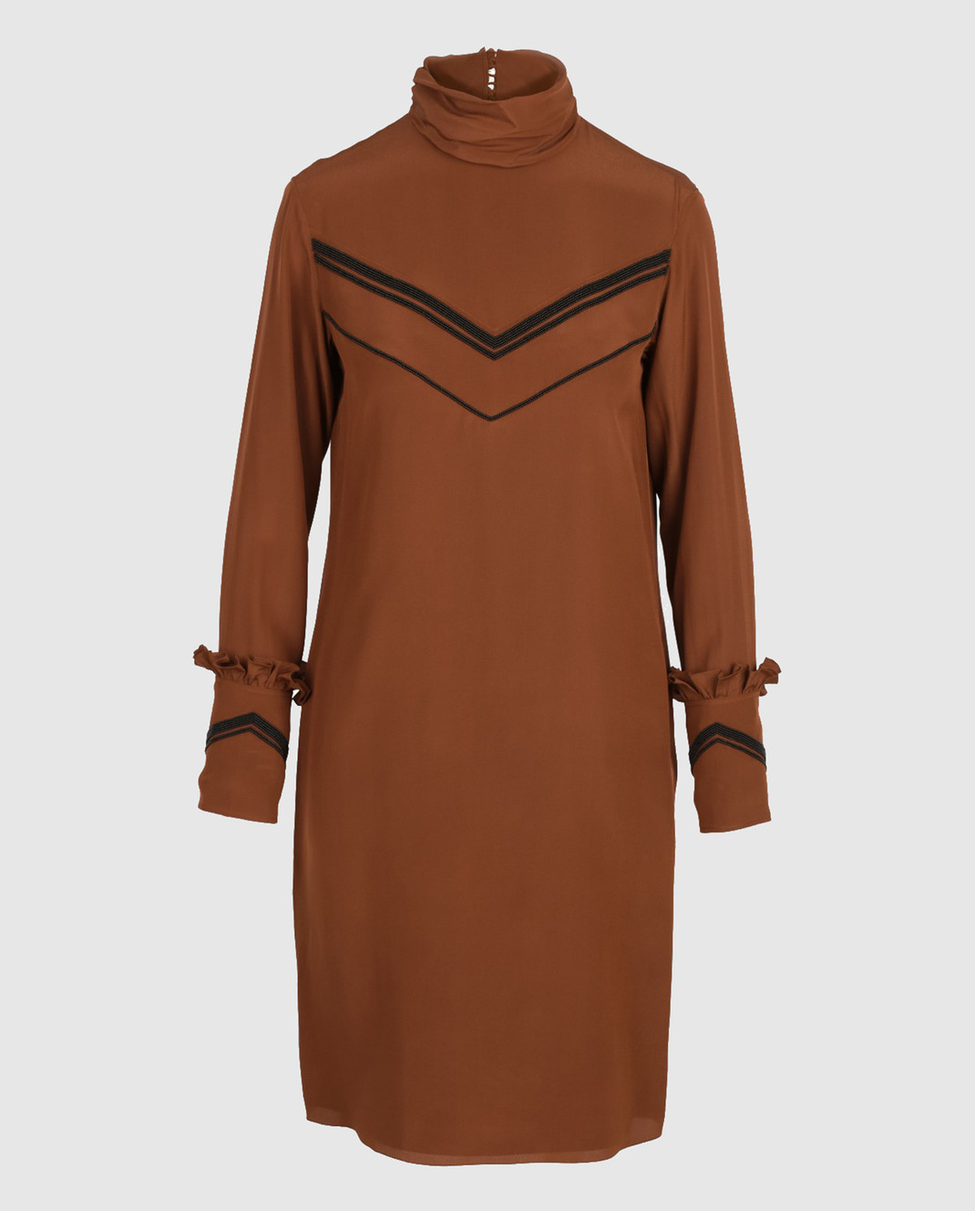 NINA RICCI Терракотовое платье из шелка 17PCRO040SE0801