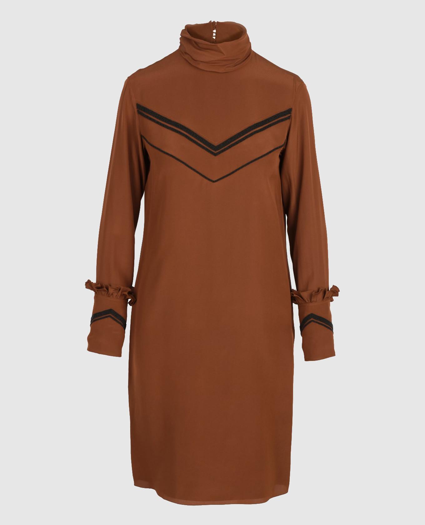 Терракотовое платье из шелка