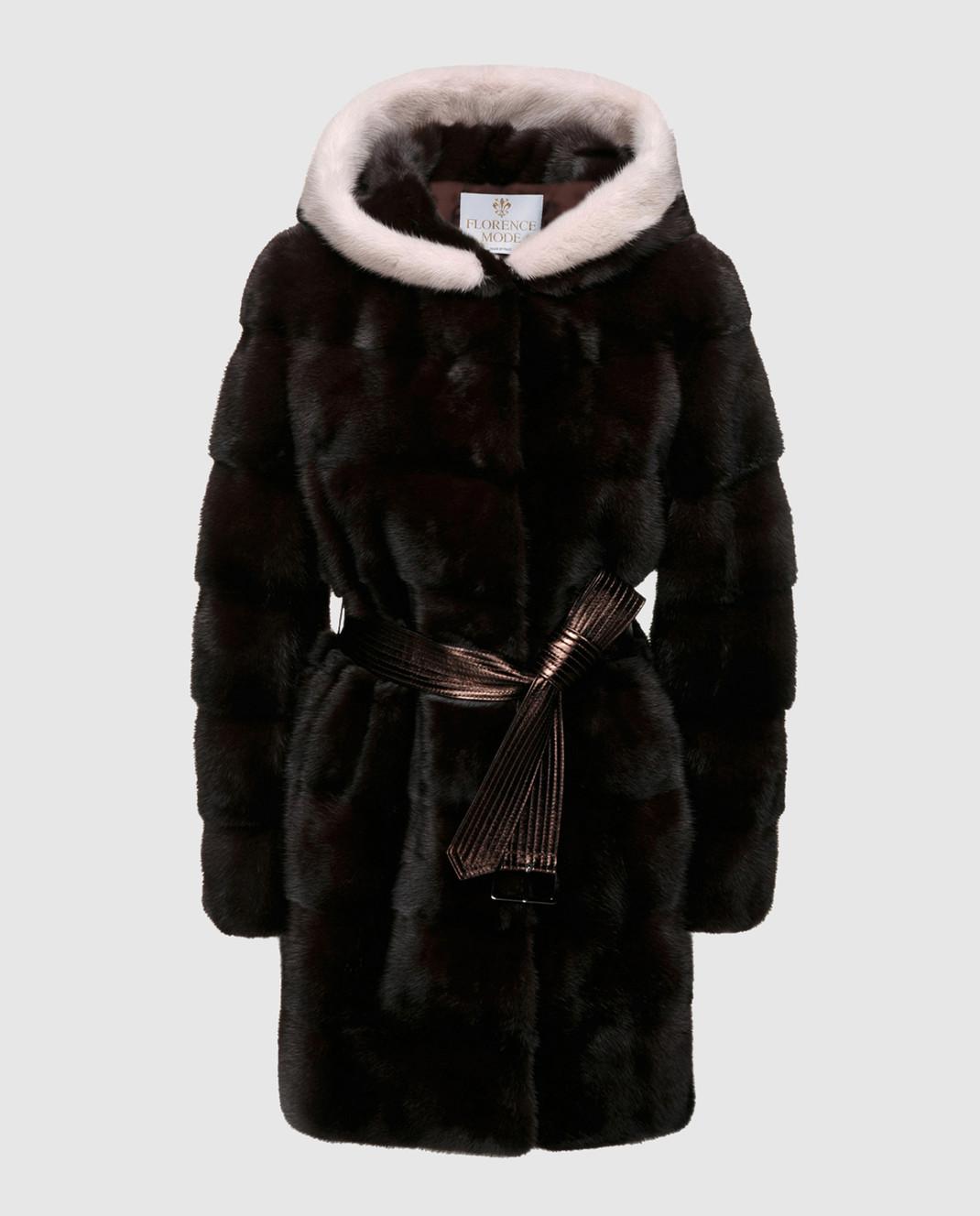 Florence Mode Темно-коричневая шуба из меха норки с поясом L1827EBONY