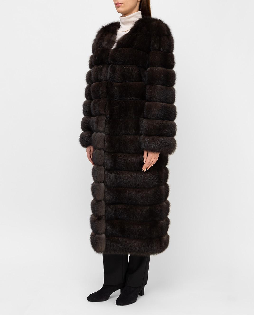 Real Furs House Темно-коричневая шуба из соболя SBR596DARKSILV1 изображение 3