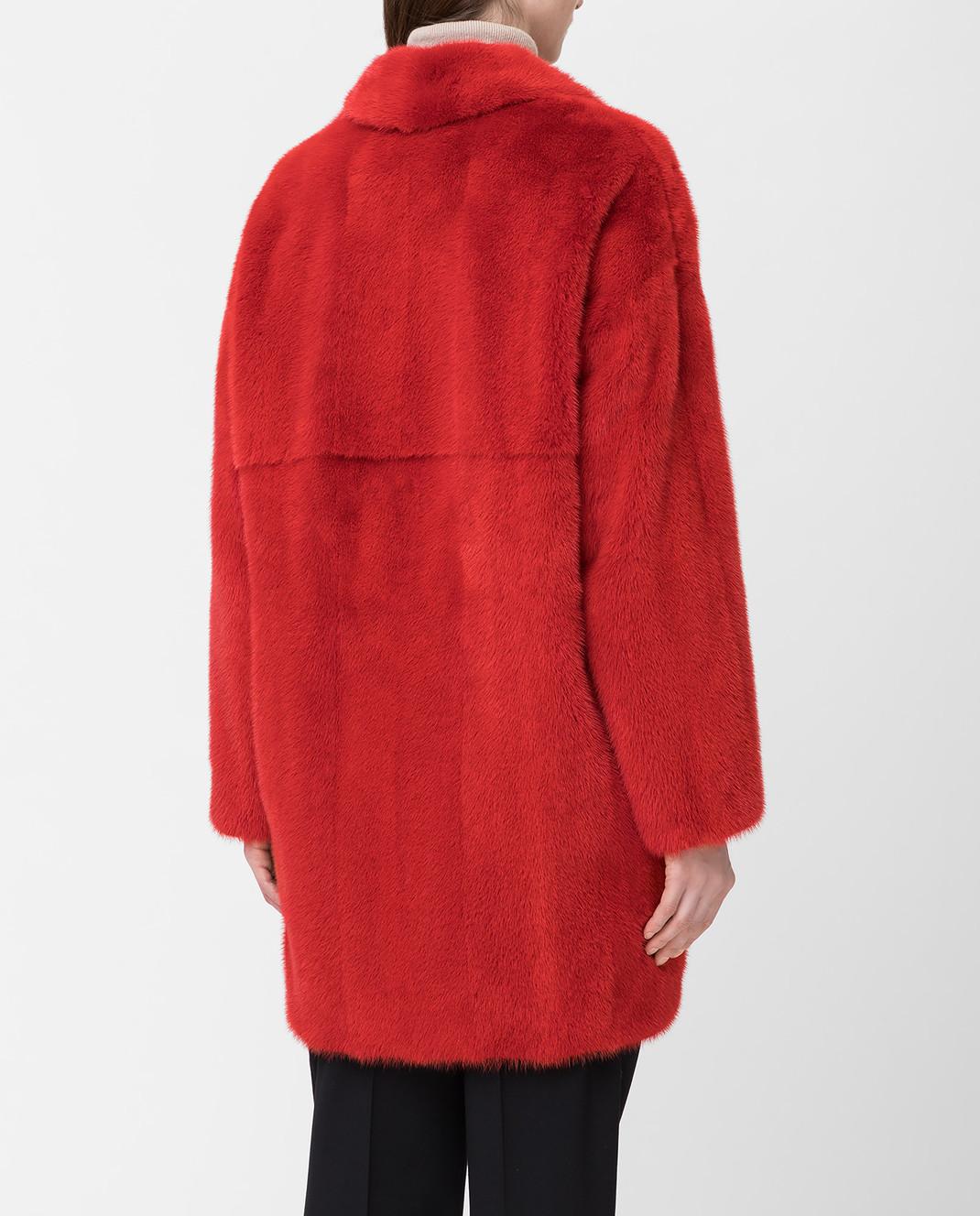 Fabio Gavazzi Красная шуба из меха норки изображение 4