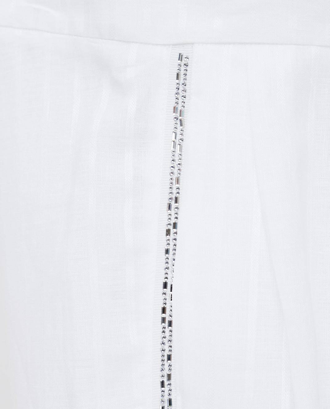 Ermanno Scervino Белые брюки из льна с кристаллами D362P302GYC изображение 5