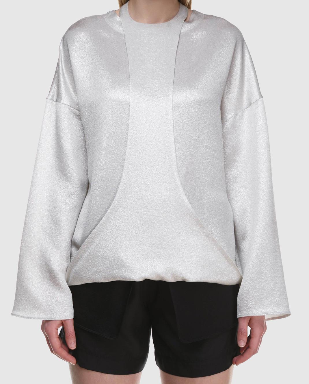 Valentino Серебристая блуза с длинным рукавом PB0AE2R53VF изображение 4