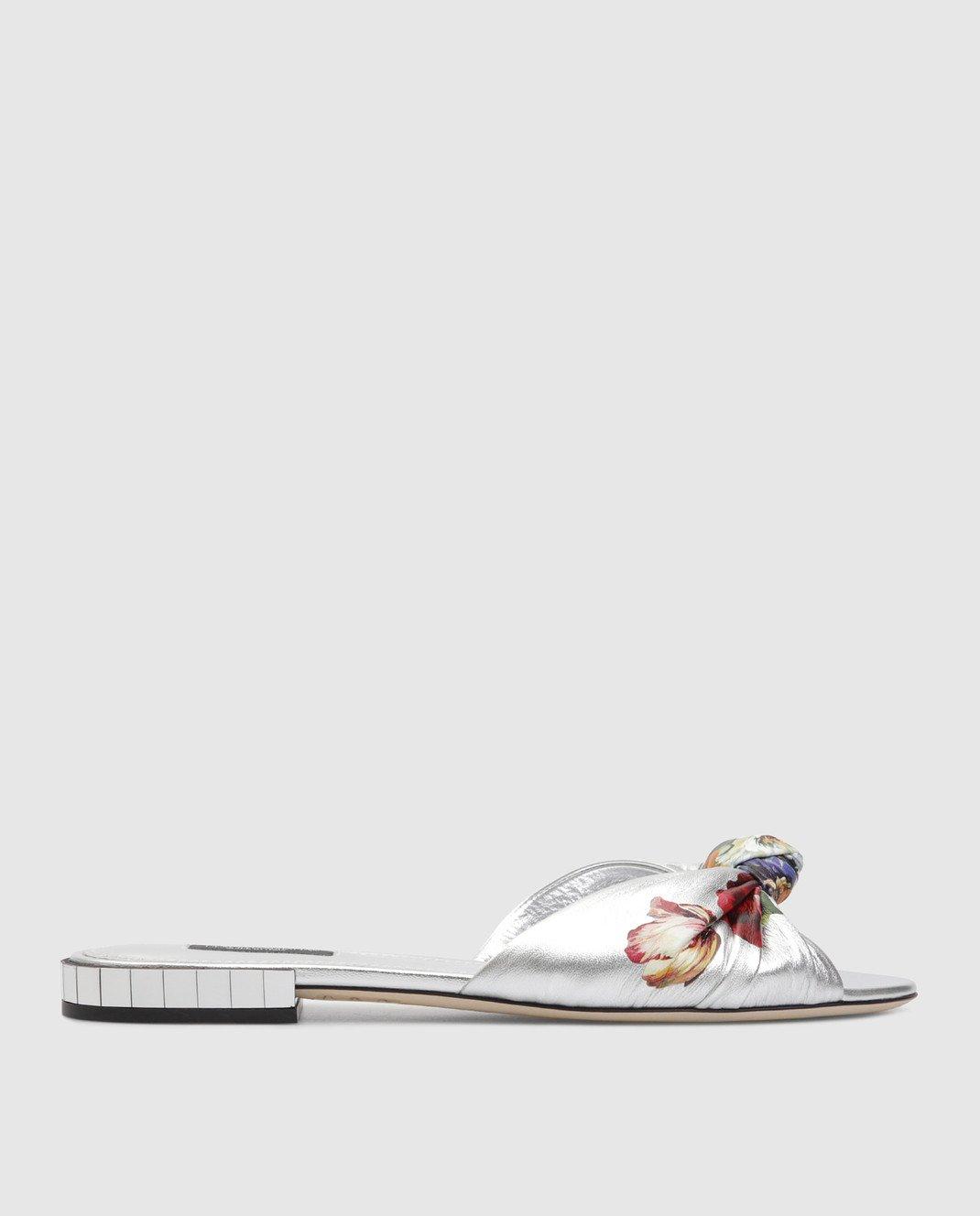 Dolce&Gabbana Серебристые кожаные шлепанцы изображение 1