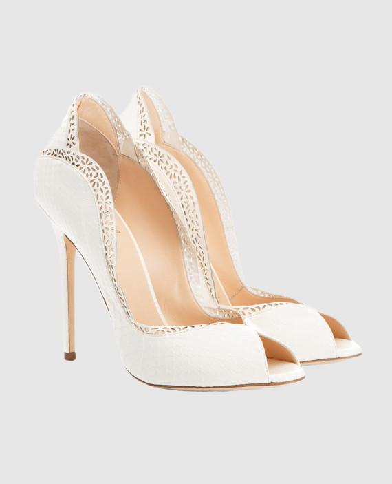 Белые туфли из кожи питона DANAEELAPHE hover