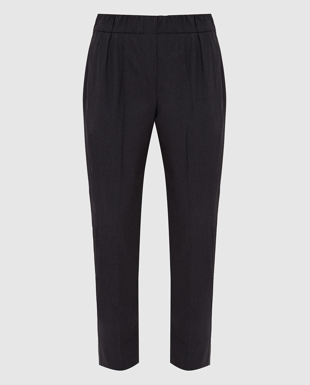 Brunello Cucinelli Темно-серые брюки из шерсти M0W07P6818