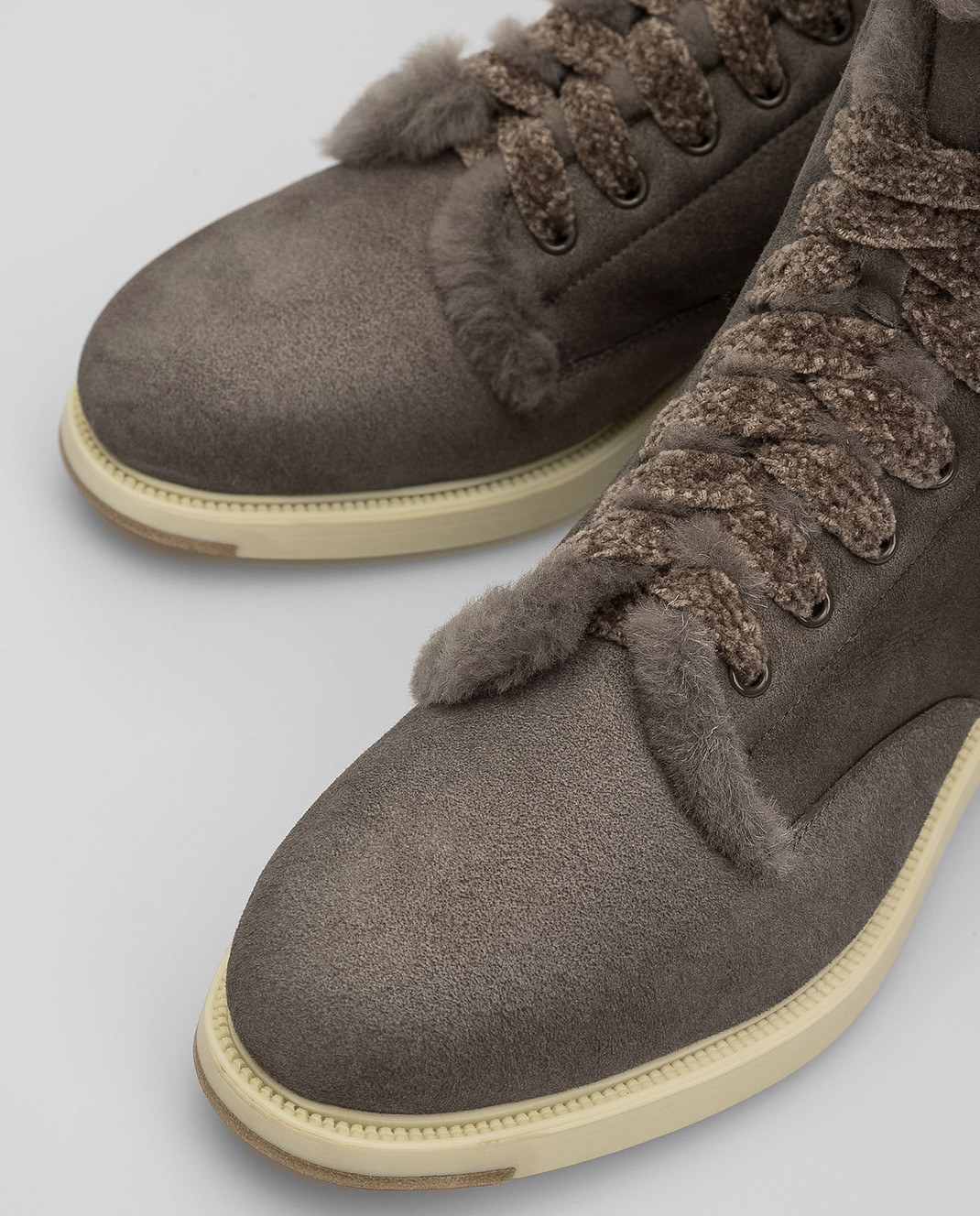 Santoni Темно-серые замшевые ботинки на меху WTEK58384SCOAEYT изображение 5
