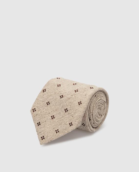 Светло-бежевый галстук из шелка