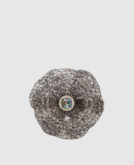 Черная заколка с кристаллами