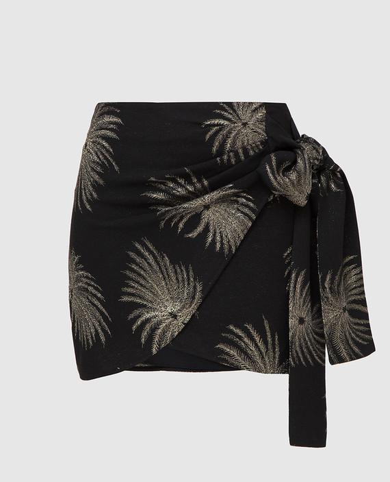 Черная юбка с вышивкой из люрекса