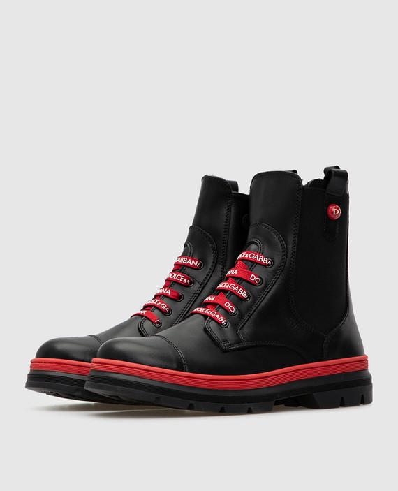 Детские черные кожаные ботинки на меху hover