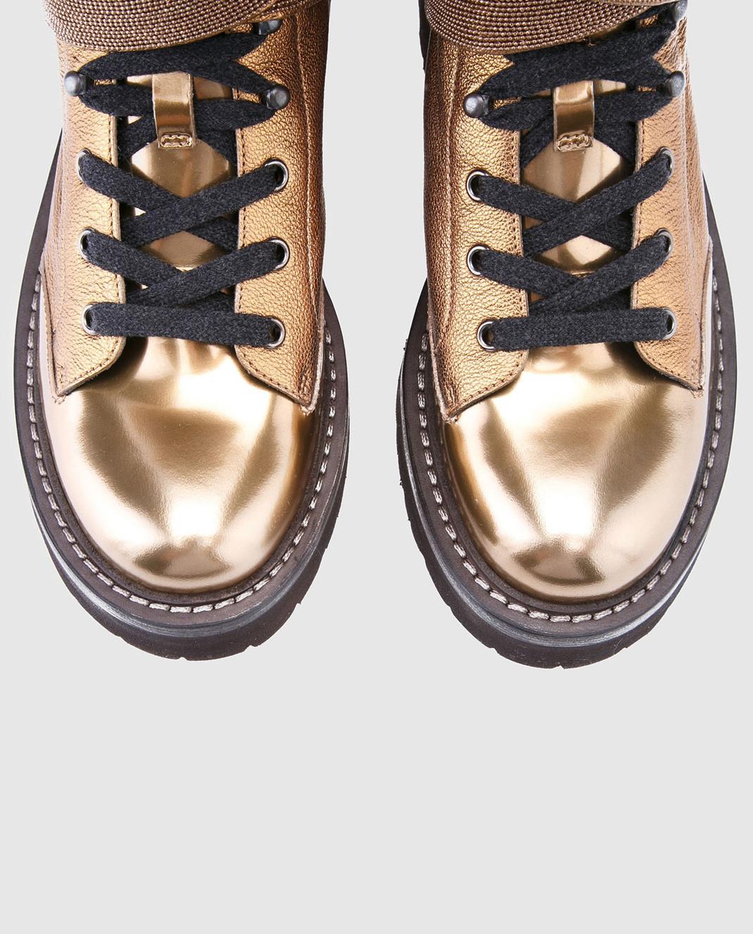 Brunello Cucinelli Золотистые кожаные ботинки MZALG1003 изображение 4