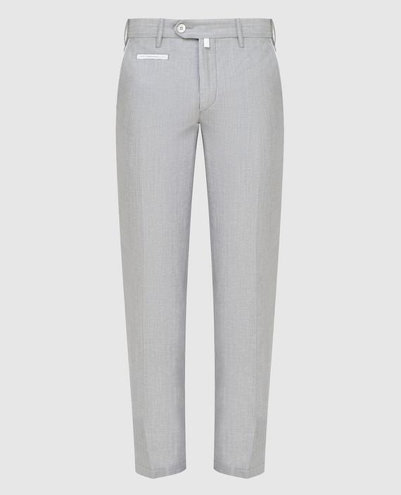 Серые брюки из шерсти и льна
