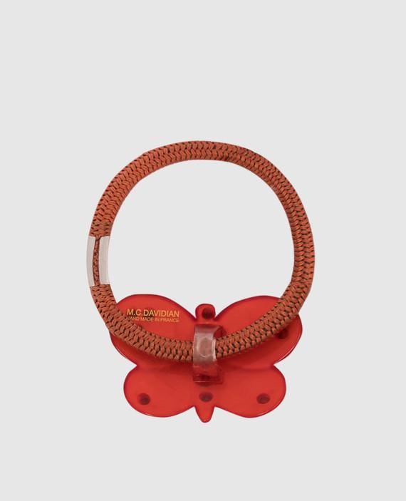 Красная резинка для волос с кристаллами hover