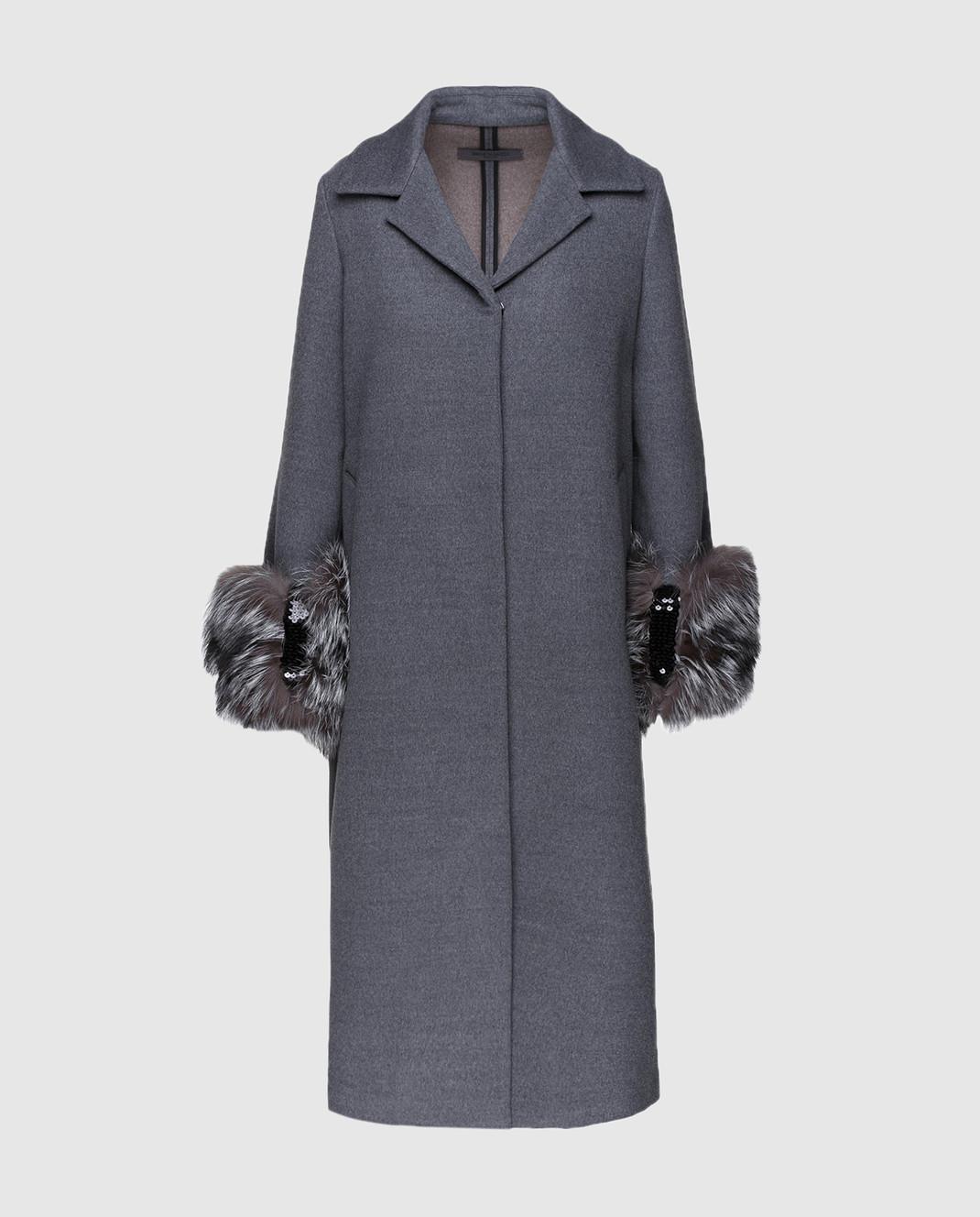 Simonetta Ravizza Серое пальто с мехом VENIS