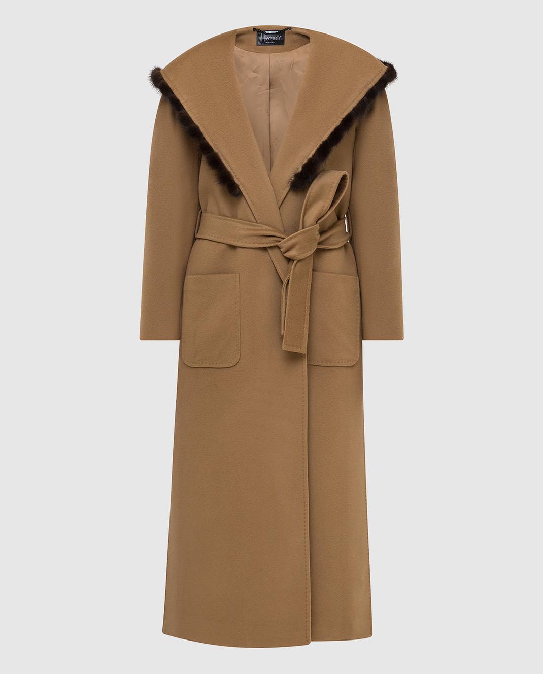 Heresis Бежевое пальто из шерсти M33130VIF260