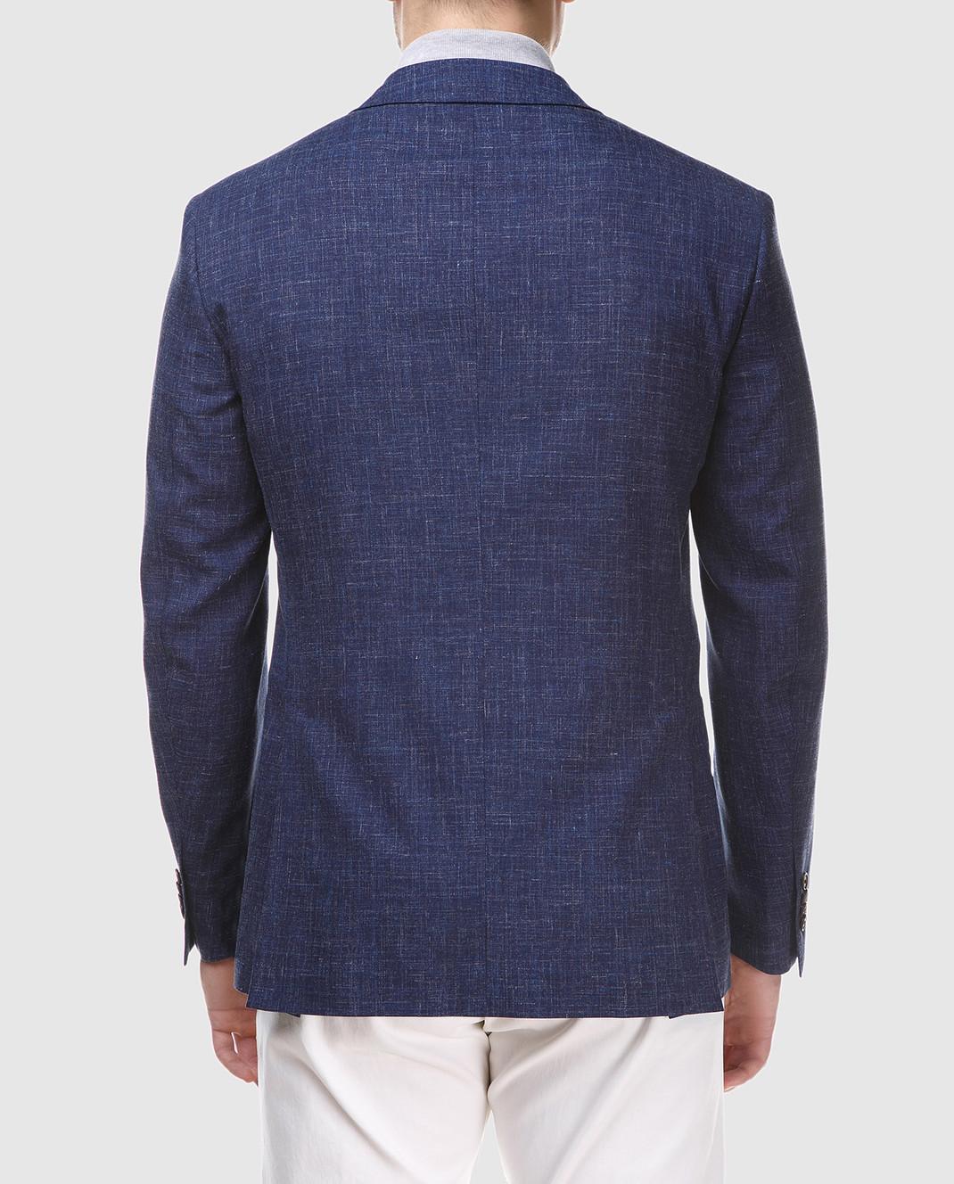 Luciano Barbera Темно-синий блейзер из шерсти и льна 111A2518164 изображение 3