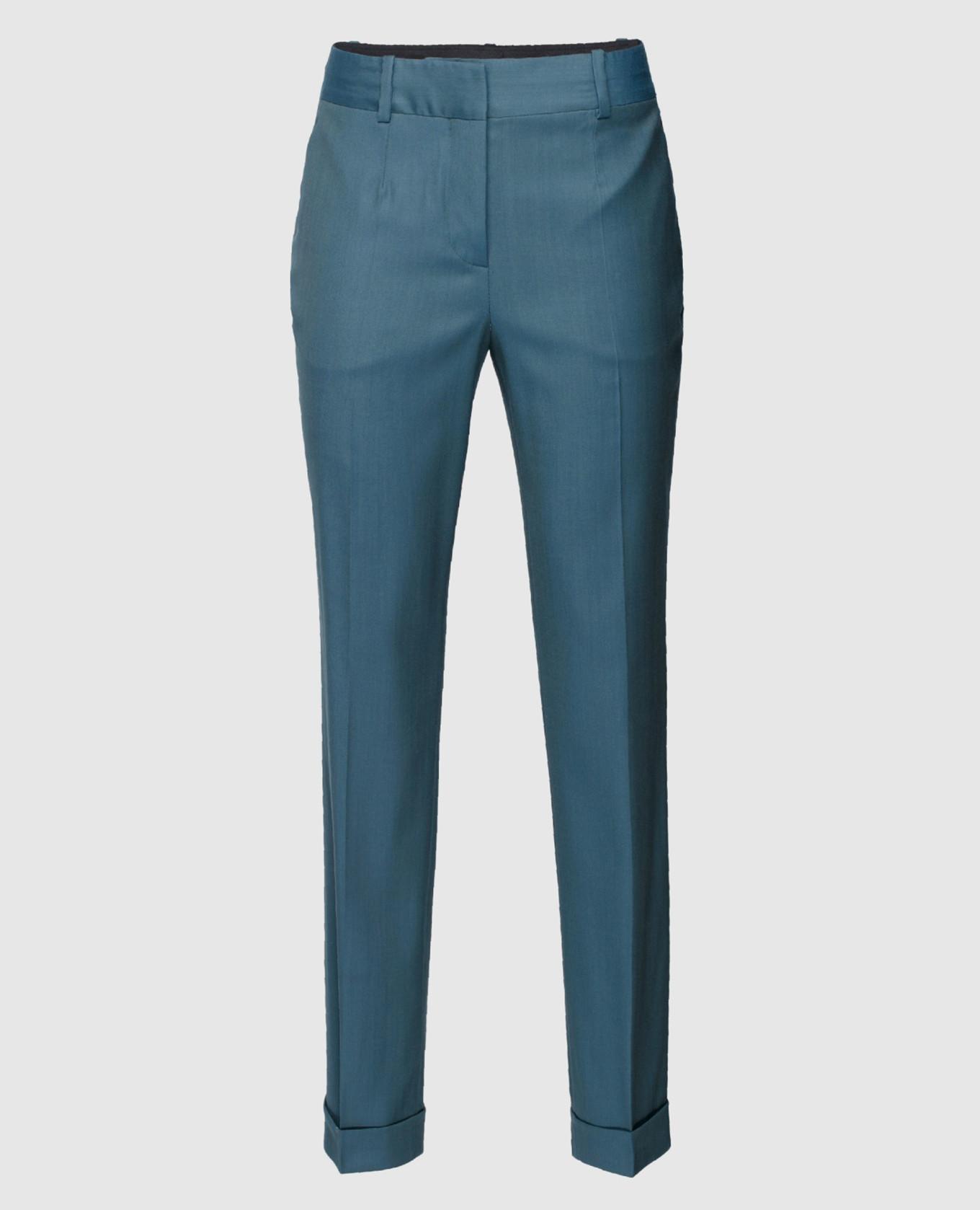 Светло-синие брюки из шерсти Maison Ullens