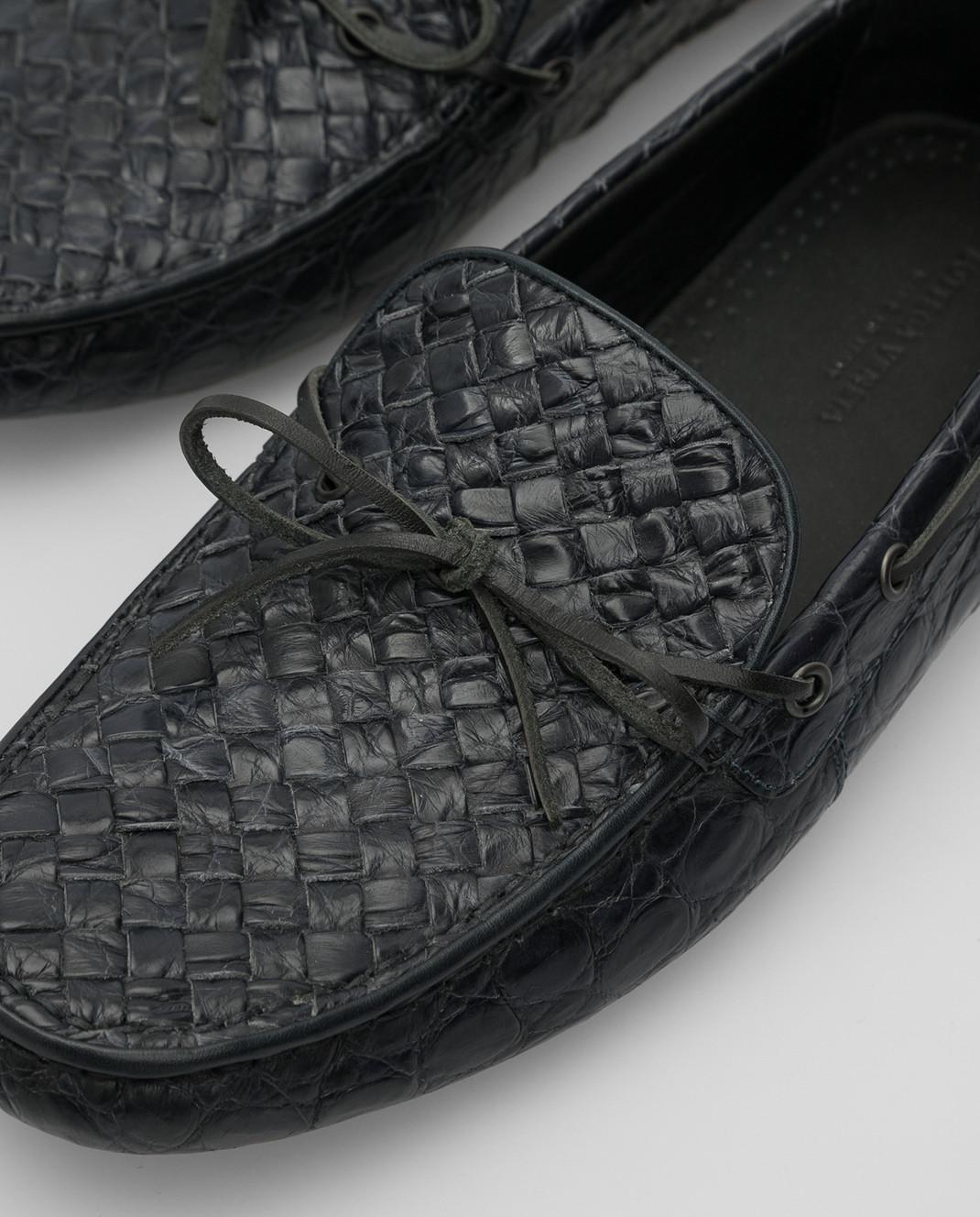 Bottega Veneta Темно-синие мокасины из кожи крокодила 325894 изображение 5