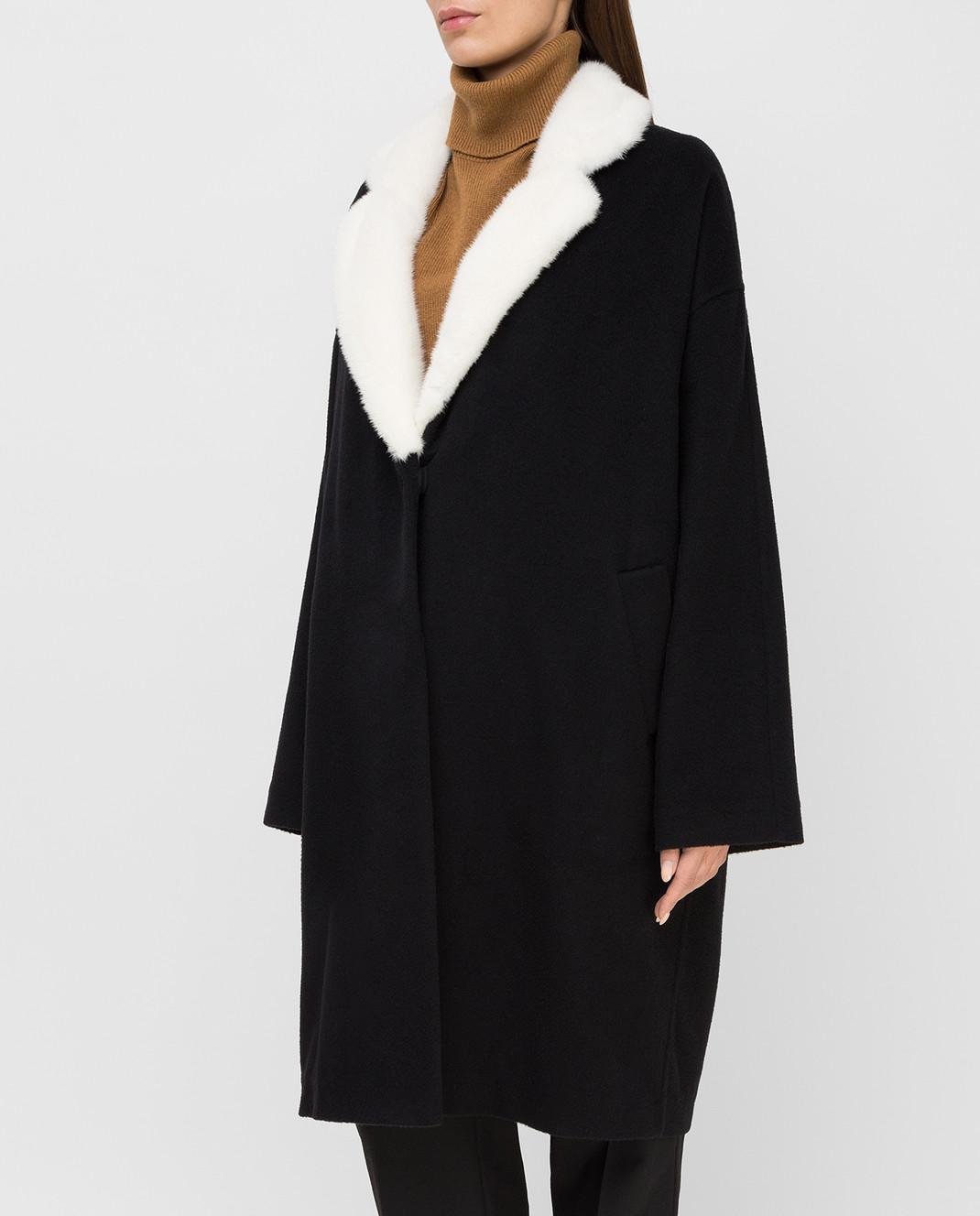 Via Cappella Черное пальто из кашемира с мехом норки C1017CASHMEREBLCOLLARM изображение 3