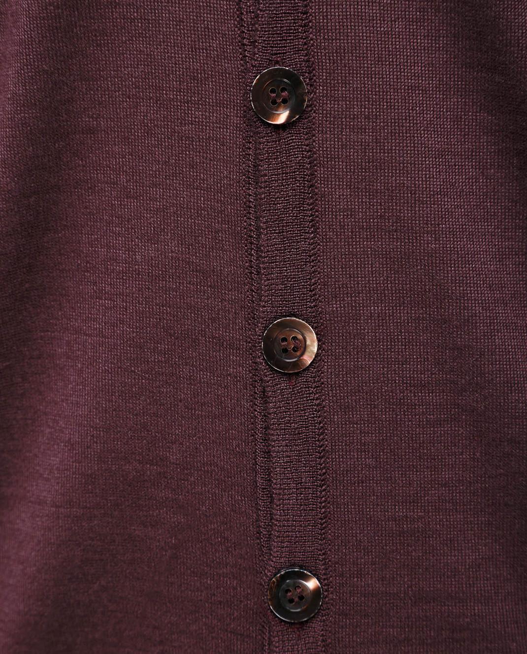 Ones Бордовый кардиган из кашемира и шелка T052 изображение 5