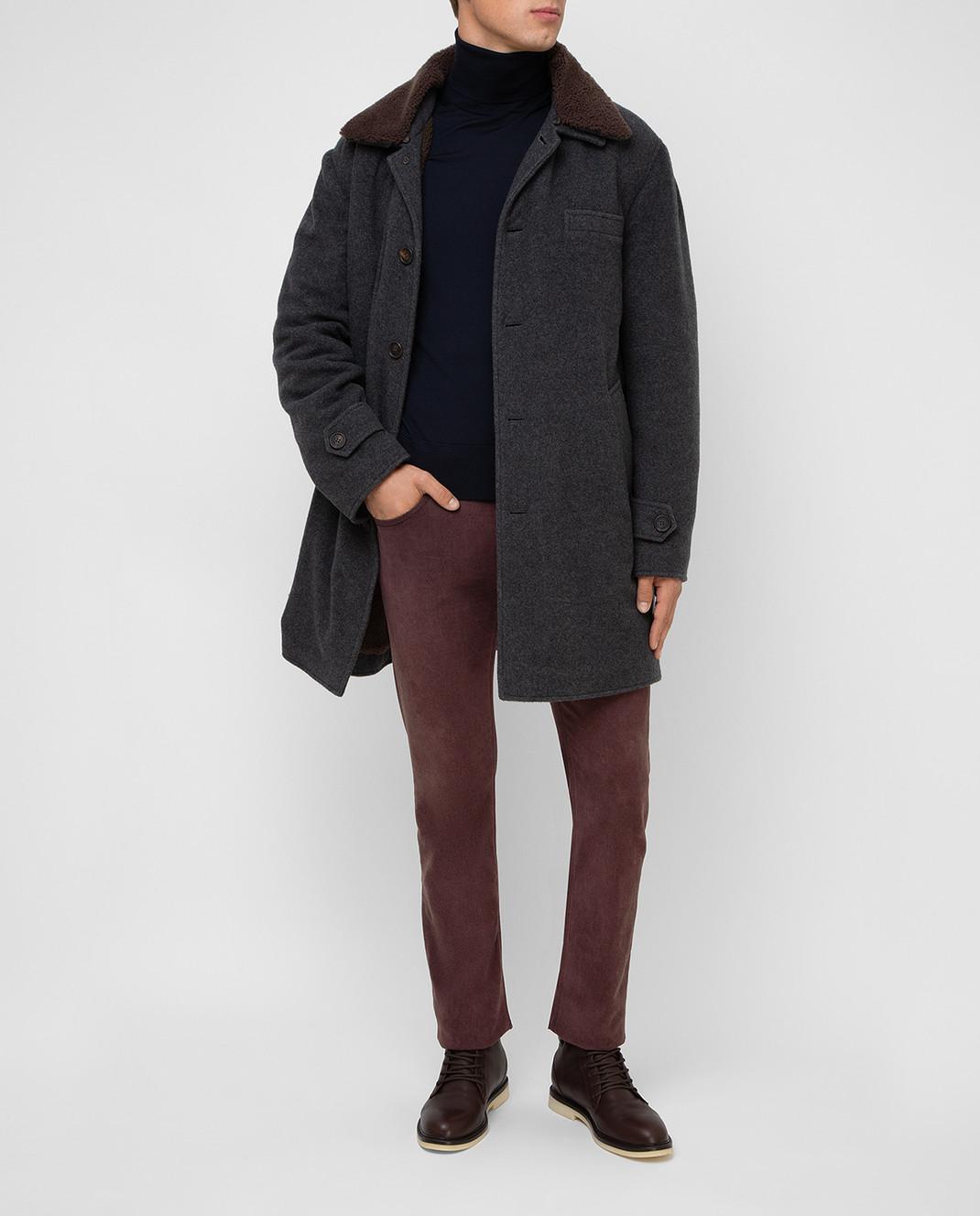 Brunello Cucinelli Серое пальто из кашемира MT4976307 изображение 2