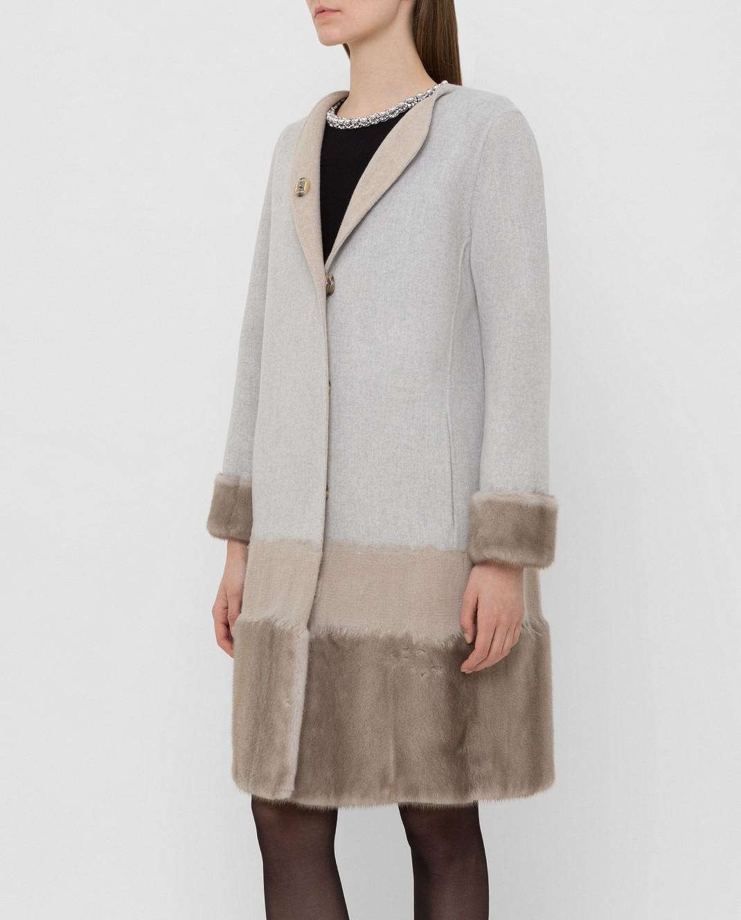 Rindi Серое пальто из шерсти и кашемира с мехом норки 295TE0R6 изображение 3