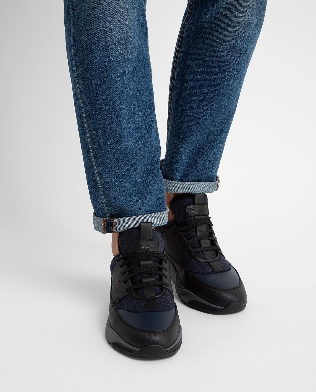 Santoni Темно-синие кроссовки изображение 2