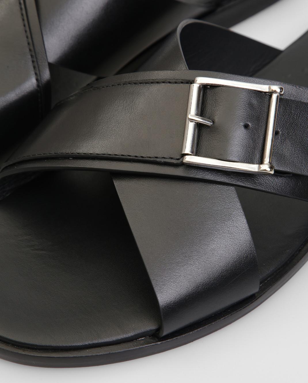 Doucal's Черные кожаные шлепанцы изображение 5