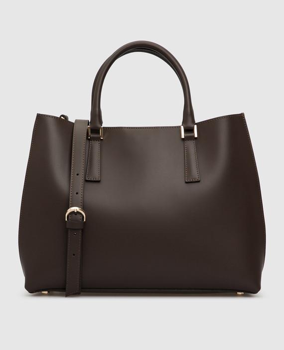 Темно-коричневая кожаная сумка