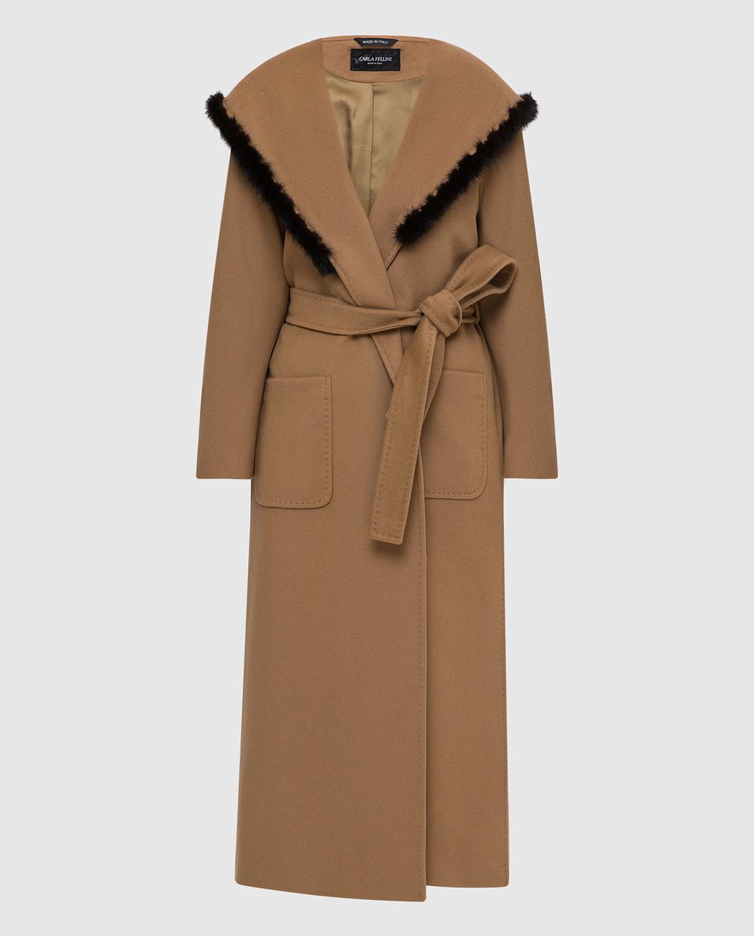 Heresis Бежевое пальто M33130VIA50