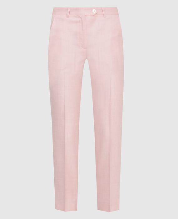 Розовые брюки из шерсти, шелка и льна