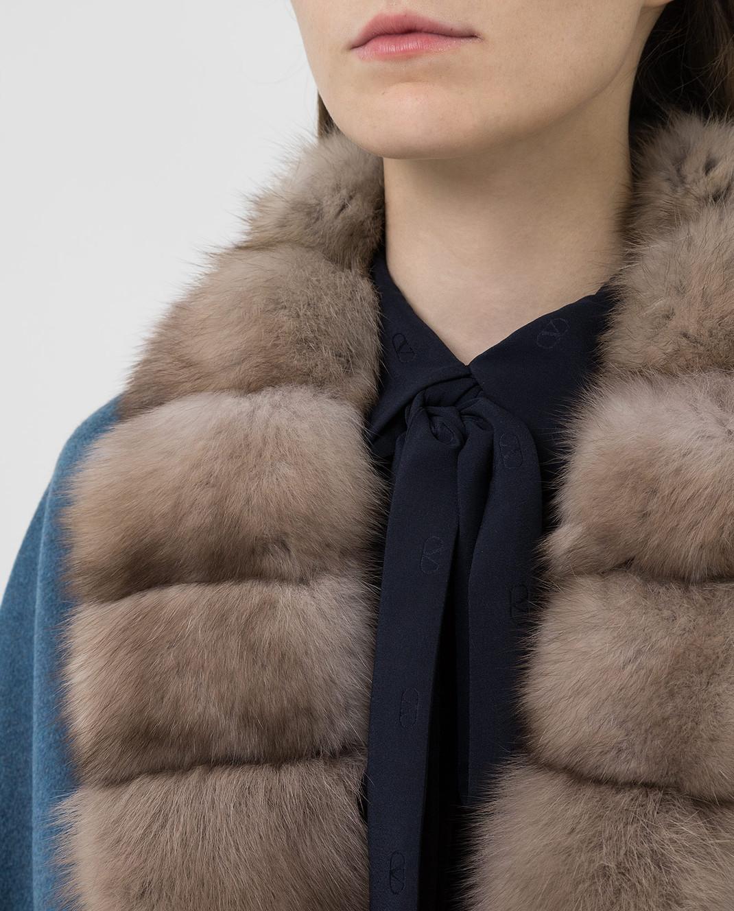 Real Furs House Синее пальто из кашемира с мехом соболя GT01lLIGHTBLUE изображение 5