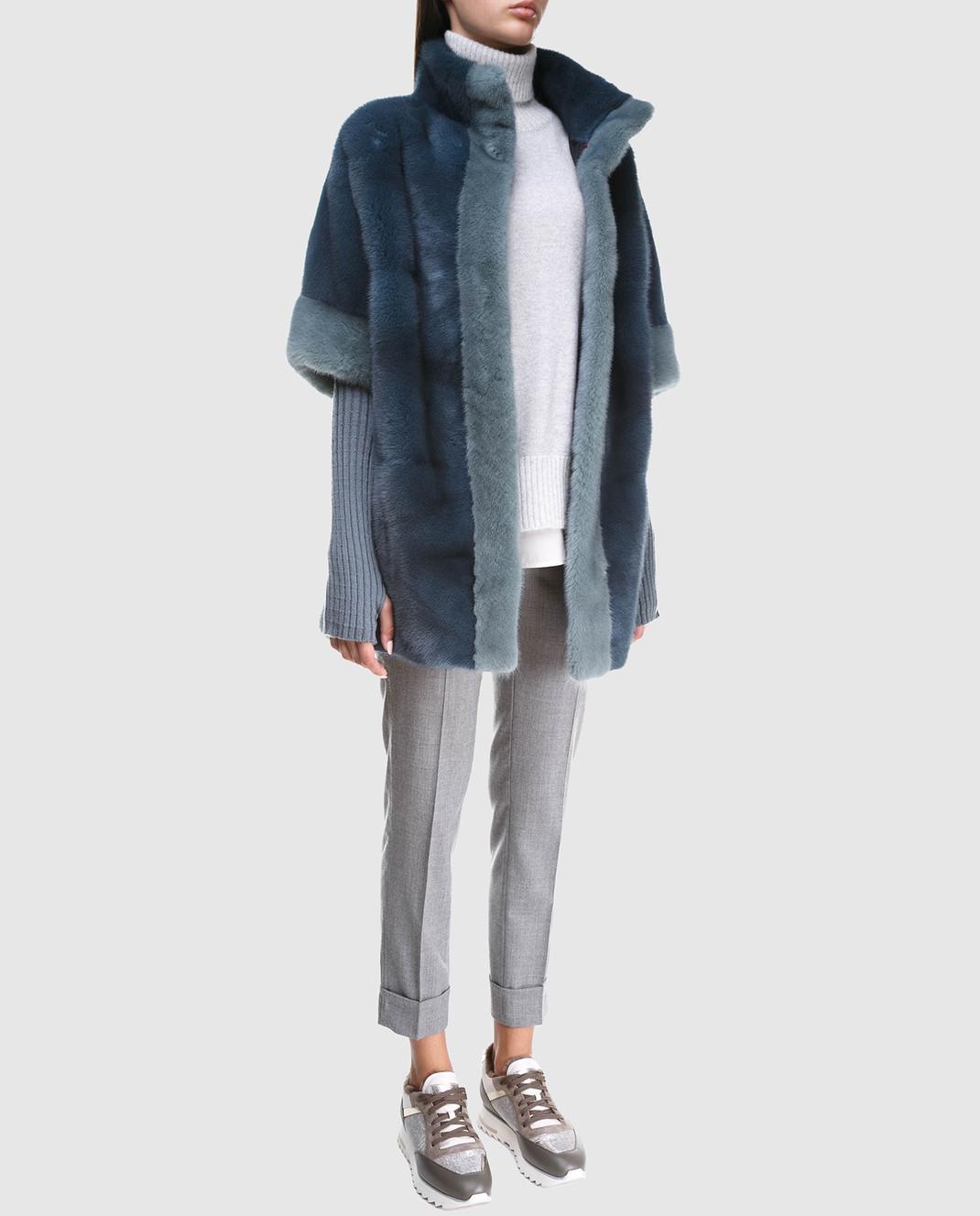 Florence Mode Бирюзовый полушубок из меха норки с митенками L1808BIS изображение 2