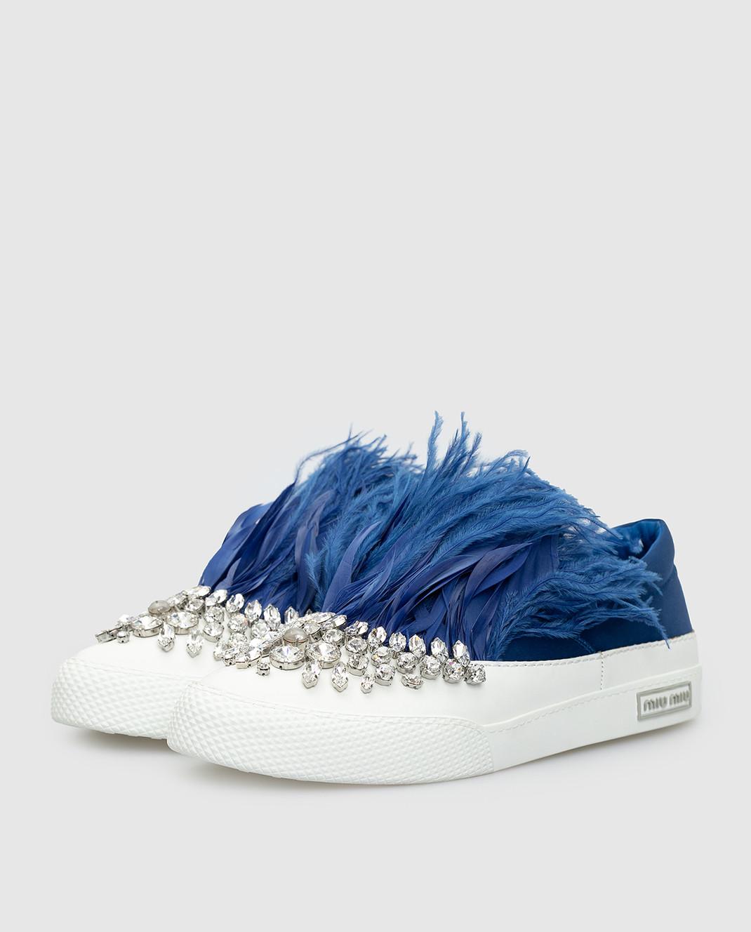 Miu Miu Синие слипоны с кристаллами и перьями из страуса 5S926A3J2W изображение 3