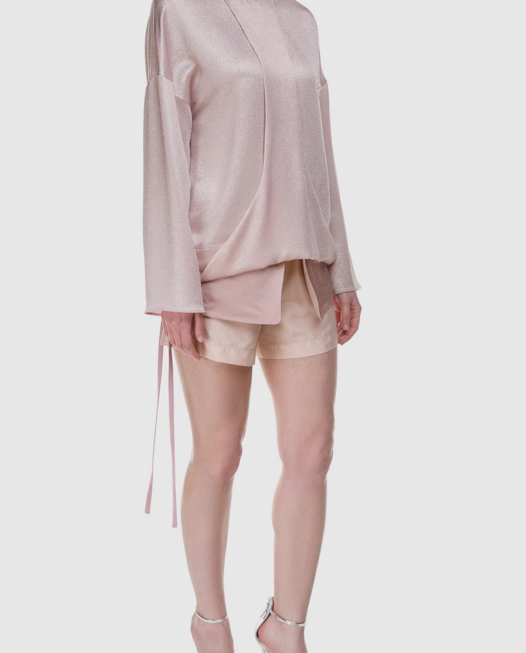 Valentino Розовые шорты из шелка и хлопка PB0RF0N537C изображение 2