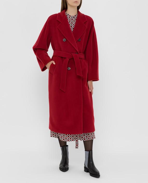 Темно-красное пальто из шерсти и кашемира hover