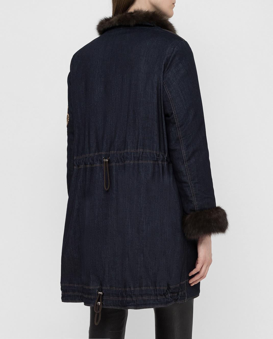 Florence Mode Темно-синяя парка с мехом соболя COMETABIS изображение 4