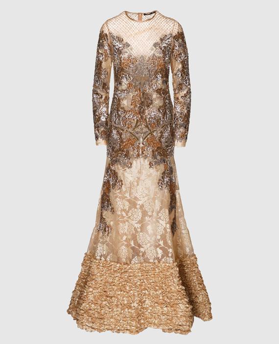 Вечернее золотистое платье