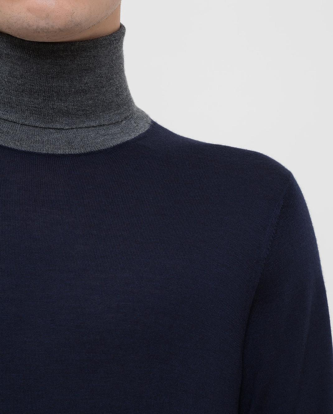 Brunello Cucinelli Темно-синий гольф из шерсти и кашемира изображение 5