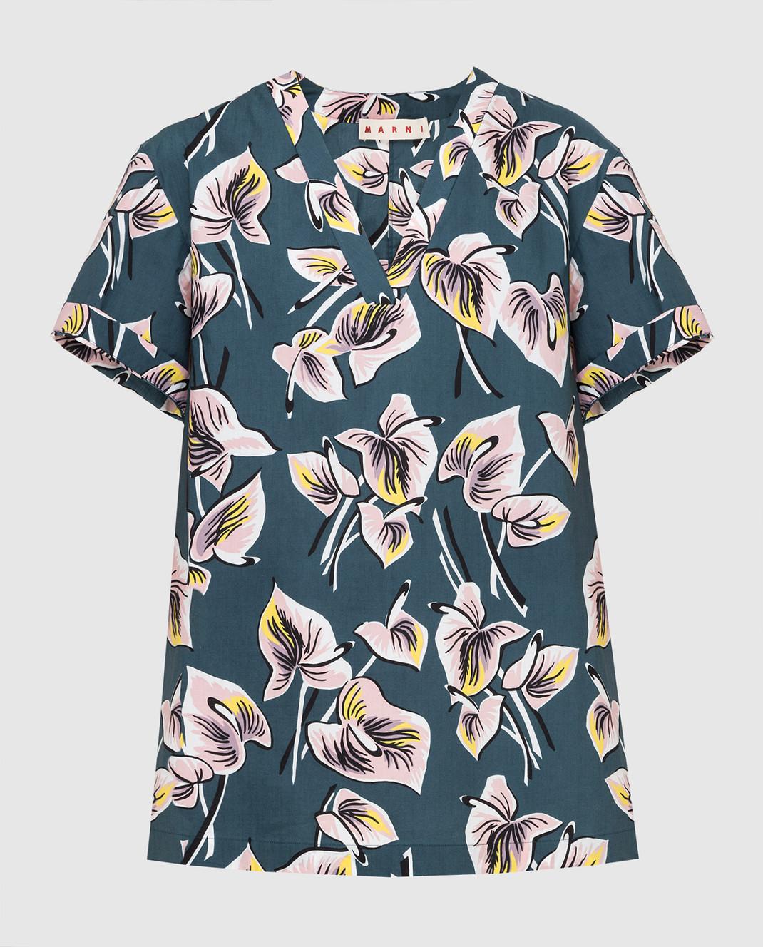 Marni Темно-бирюзовая рубашка CAMAT40A00TCT37