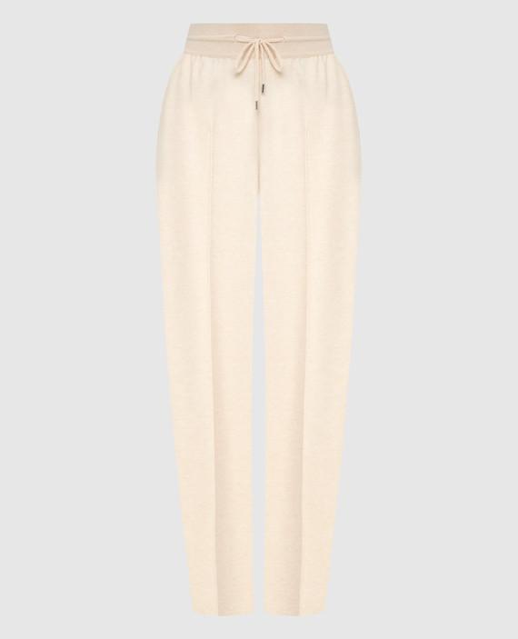 Светло-бежевые брюки из кашемира